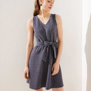 NWT Loft Textured Stripe Tie Waist Flare Dress